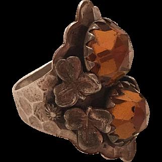 Antique Arts & Crafts Hammered Sterling Silver Clover Orange Faceted Paste Ring