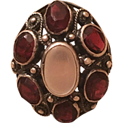 Antique Arts & Crafts Sterling Silver Moonstone & Garnet Ring