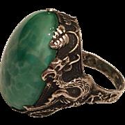 Antique Art Nouveau Sterling Silver Dragon Peking Glass Ring