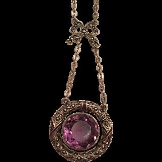 Vintage Art Deco Sterling Silver Purple Enamel, Amethyst & Marcasite Bow Necklace 835 Silver Chain