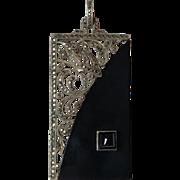 Vintage Art Deco German Sterling Silver Onyx & Marcasite Bird Pendant Germany