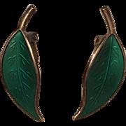 Vintage David Andersen Sterling Silver & Green Enamel Leaf Earrings