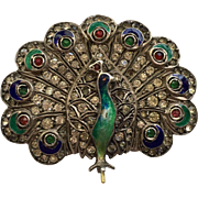 Vintage Art Deco 935 Sterling Silver Paste & Enamel Peacock Brooch