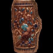 Vintage Chinese Export Silver Enamel Bird Flowers Adjustable Ring
