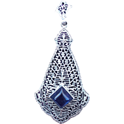 Vintage Art Deco Sterling Silver Filigree Blue Paste Pendant