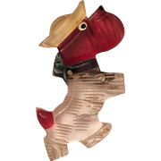 Vintage Reverse Carved Lucite Scotty Scottie Dog Brooch
