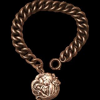 Antique Art Nouveau Woman Lady Silver Fob & 800 Silver Bracelet