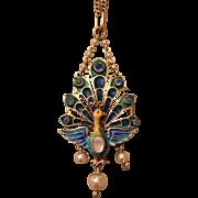 Antique Austro Hungarian Plique a Jour Enamel, Paste & Mother of Pearl Peacock Silver Gilt Pendant