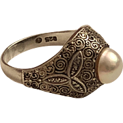 Vintage Theodor Fahrner German Sterling Silver Cultured Pearl & Marcasite Ring Germany