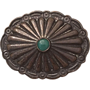 Vintage Native American Sterling Silver Turquoise Concho Brooch