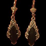 Vintage 935 Sterling Silver Black Glass & Marcasite Dangle Earrings