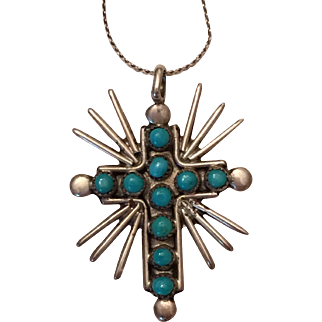 Vintage Native American Silver Snake Eye Turquoise Cross Pendant Necklace