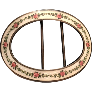 Antique Edwardian Georg Adam Scheid Austria Silver Rose Flower Floral Guilloche Enamel Belt Buckle