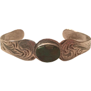 Vintage Mexican Sterling Silver Turquoise Cuff Engraved Bracelet Mexico