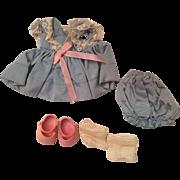 Vintage Vogue Ginny Kinder Crowd #125 Blue Dress & Bloomers, Pink Shoes, & Socks Outfit