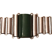 Vintage Art Deco Jakob Bengel Germany Green Galiath Chrome Plated Bracelet