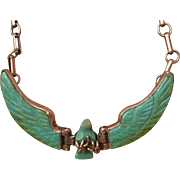 Vintage Harry Spencer Native American Sterling Silver Carved Turquoise Eagle Necklace