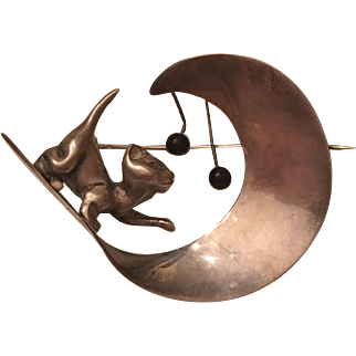 Vintage Misty Taylor Mexico Sterling Silver Cat Moon Onyx Brooch