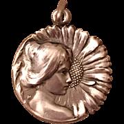 Antique Jugendstil Lauer & Wiedmann Sterling Silver Woman Sunflower Flower Pendant Germany