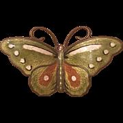 Vintage Hroar Prydz Norwegian Sterling Silver Enamel Guilloche Butterfly Brooch Norway