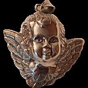 Vintage Sterling Silver Hollow Puffy Angel Cherub Pendant