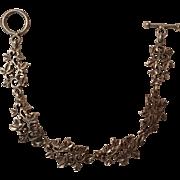 Vintage Sterling Silver Mexico Ivy Leaf Link Bracelet