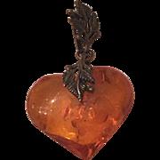 Vintage Sterling Silver Leaf Design Amber Heart Pendant