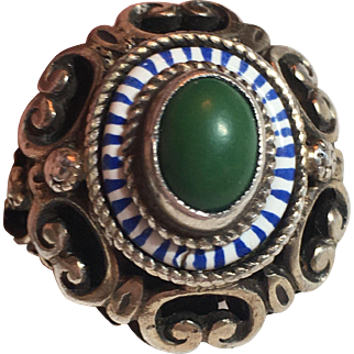 Antique Austro-Hungarian Sterling Silver Enamel Turquoise Ring
