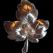 Vintage Mikimoto Sterling Silver Cultured Pearl Leaf Brooch