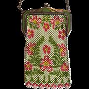 Rare Vintage Art Deco Whiting & Davis Mesh Green & Pink Flower Enamel Mesh Purse With Original Tag
