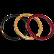 Vintage Red, Black & Yellow Bakelite Bangle Bracelet Set