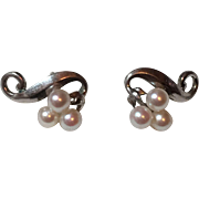 Vintage Mikimoto Sterling Silver Cultured Pearl Pierced Earrings