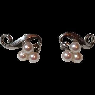 Vintage Mikimoto Sterling Silver Cultured Pearl Pierced Earrings
