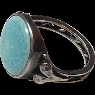 Antique Arts & Crafts Plantagenet Sterling Silver Blue Ceramic Ring
