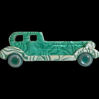 Vintage Art Deco Style Lea Stein Paris France Turquoise & White Car Automobile Rolls Royce Brooch