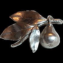 Vintage 1950 Ge-Ka Smychen G. Kaplan Swedish Sterling Silver Pear & Leaves Brooch Sweden