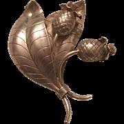 Vintage 1951 Ge-Ka Smychen G. Kaplan Swedish Sterling Silver Thistle & Leaves Brooch Sweden
