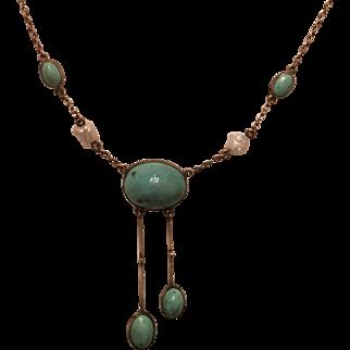 Antique Jugendstil 800 Silver Gilt Turquoise & Pearl Lariat Necklace