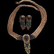 Vintage Native American Liquid Sterling Silver Azurite Heishi Necklace & Earrings Set