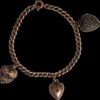 Vintage Sterling Silver Three Puffy Heart Charm Bracelet Flower Pansy Pink Rhinestone