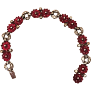 Vintage Unsigned KTF Trifari Red Fruit Salad Flower Rhinestone Bracelet