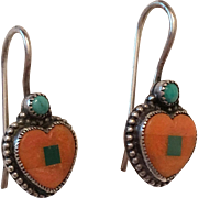 Benny & Valerie Aldrich Native American Sterling Silver Spiny Oyster & Turquoise Heart Shaped Earrings