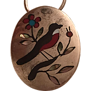 Native American Betty Harmon Sterling Silver Inlaid Coral, Onyx, Turquoise, and Abalone Bird Pendant Brooch Necklace