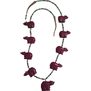 Vintage Zuni Native American Sterling Silver Carved Sugilite Bear, Turquoise & Sugalite Heishi Bead Fetish Necklace