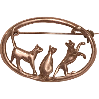 Vintage Sterling Silver Three Cats & A Mouse Brooch