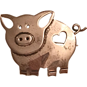 Vintage Sterling Silver Mexico Pig With Heart Cut Out Brooch
