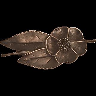 Vintage Stuart Nye Sterling Silver Hand Wrought Cherokee Rose & Leaf Brooch