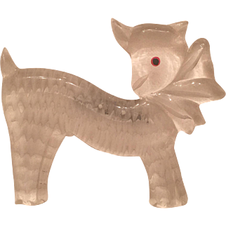 Vintage Reverse Carved Lucite Lamb Sheep Brooch