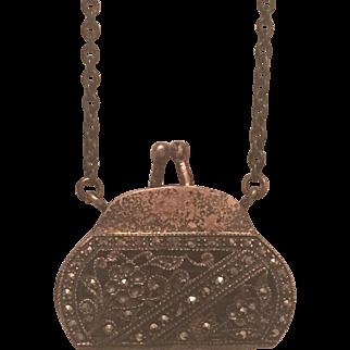 Vintage Sterling Silver Marcasite Flower Purse Necklace