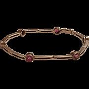Vintage German Art Deco Victor Mayer 935 Sterling Silver Pink Paste Bracelet Germany